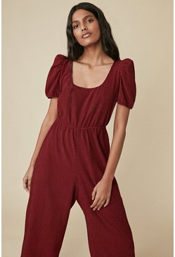 Red Check Scoop Neck Jumpsuit