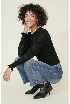 Black Pointelle Frill high neck jumper