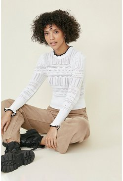 Ivory Pointelle Frill high neck jumper