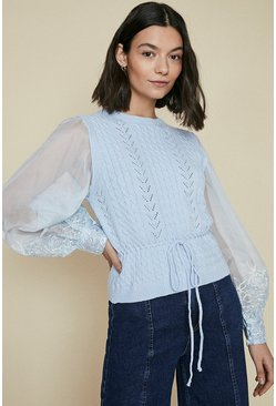 Blue Woven lace sleeve cable jumper
