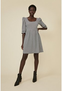 Blackwhite Check Scoop Neck Skater Dress