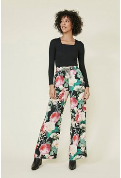 Green Printed Wide Leg Trousers