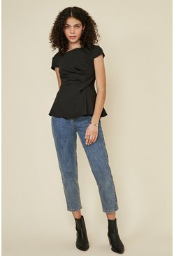 Black Short Sleeve Tuck Front Shell Top