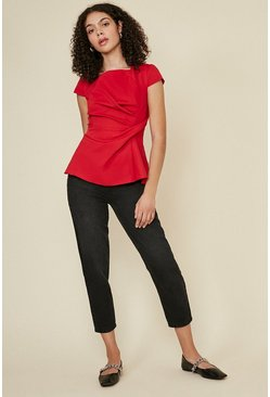 Wine Short Sleeve Tuck Front Shell Top