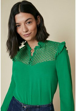 Green Ruffle High Neck Long Sleeve Top