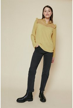 Mustard Ruffle High Neck Long Sleeve Top