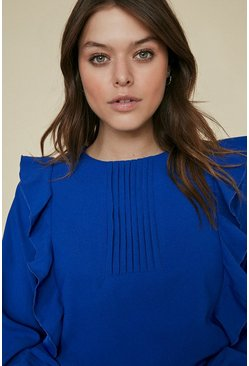 Blue Tuck Detail Ruffle Sleeve Blouse