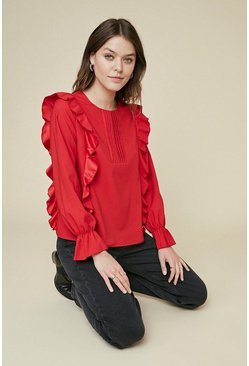 Red Tuck Detail Ruffle Sleeve Blouse