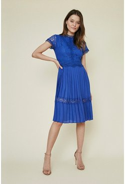 Cobalt Lace Bodice Pleat Dress