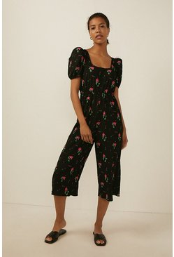 Multi Rose Scoop Neck Jumpsuit