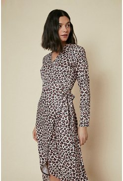 Brown Printed Jersey Wrap Dress