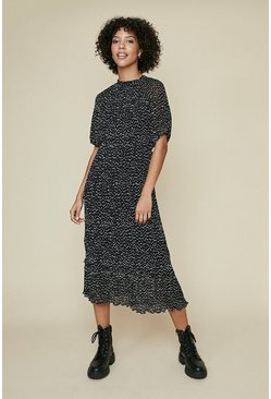 Black Pin Spot Balloon Sleeve Midi Dress