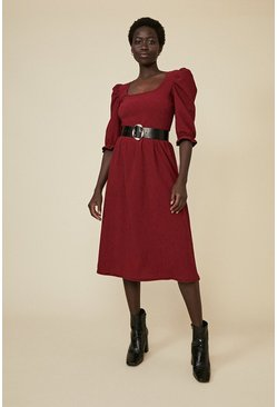 Red Check Scoop Neck Midi Dress