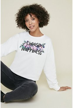 Ivory Choose Happiness Floral Sweatshirt