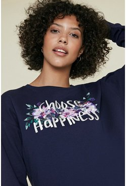 Navy Choose Happiness Floral Sweatshirt