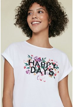 White Happy Days T Shirt
