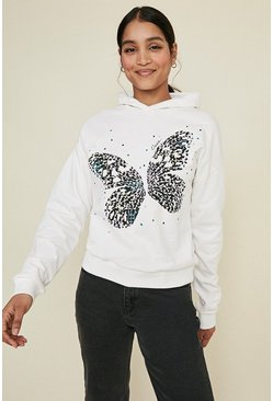 Ivory Butterfly Oasis Print Hoody