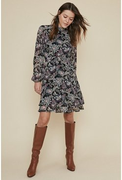 Multi Floral Printed Double Layer Skater Dress
