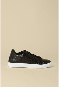 Black Quilted Faux Leather Trainer