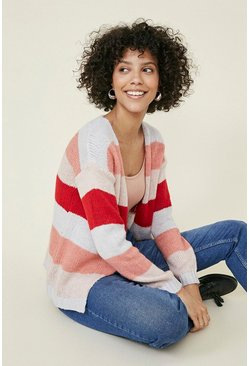 Multi Cosy stripe sparkle trim cardigan