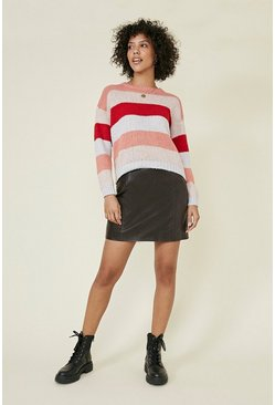 Multi Cosy stripe sparkle trim jumper