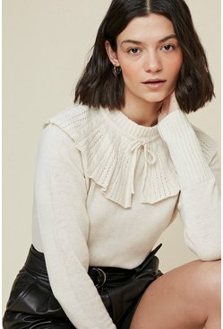 Cream Collared Jumper With Tie Detail