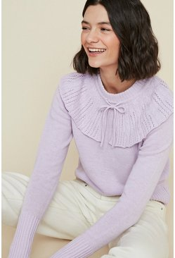 Lilac Collared Jumper With Tie Detail