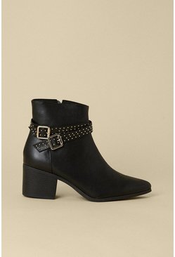 Black Studded Strappy Heeled Boot