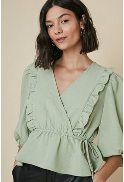 Green Textured Frill Wrap Top