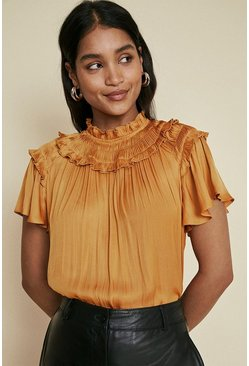 Orange Satin Frill Shell Top