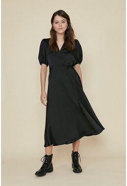 Black Satin Wrap Midi Dress