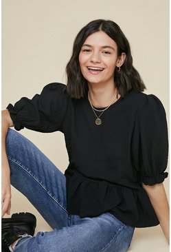 Black Textured puff sleeve top