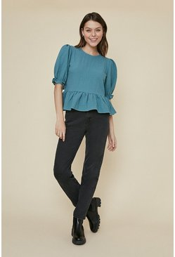 Green Textured puff sleeve top