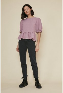 Pink Textured puff sleeve top