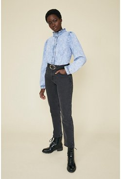 Acid wash light blue Frill Collar Denim Shirt