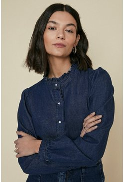 Rinse Frill Collar Denim Shirt