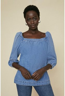 Dark wash Puff Sleeve Denim Top