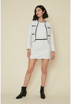 Ivory Tweed Check Skirt