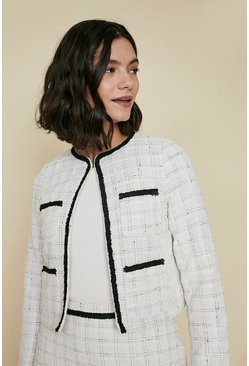 Ivory Tweed Check Jacket