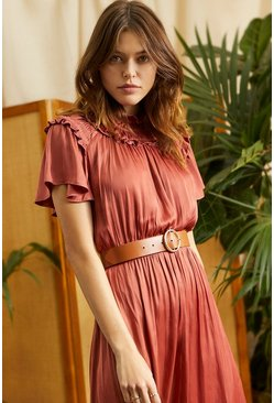 Rust Ruffle Midi Dress