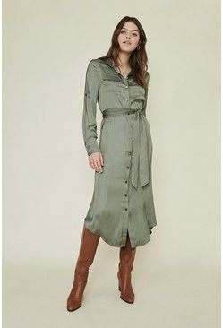Khaki Satin Shirt Dress
