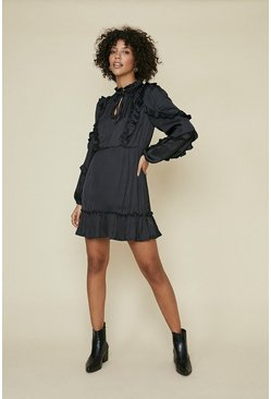 Black Satin Frill Skater Dress