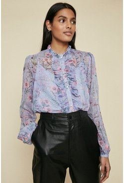 Multi Floral Dobby Blouse