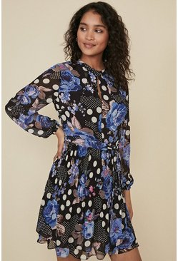 Blue Bloomy Spot Print Pleated Shell Dress