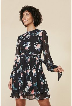 Multi Kiera Floral Print Pleated Shell Dress