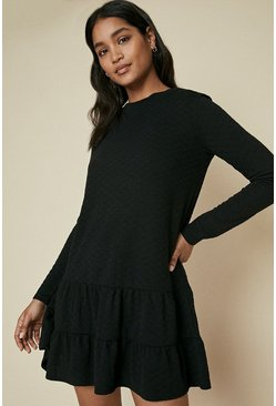 Black Quilted Tiered Hem Sweat Dress