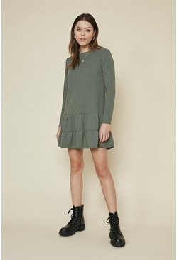 Khaki Quilted Tiered Hem Sweat Dress