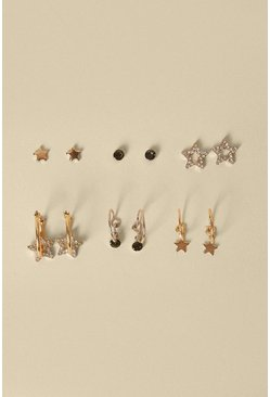 Gold Star Stud And Charm Hoop 6 Pack