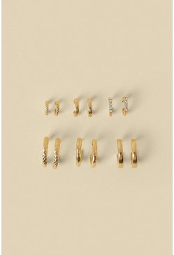 Gold Mini Hoop 6 Pack Earrings