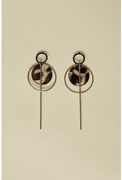 Gold Animal Disk Earrings